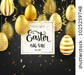 easter golden egg with... | Shutterstock .eps vector #1025259748