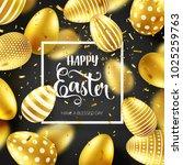 easter golden egg with... | Shutterstock .eps vector #1025259763