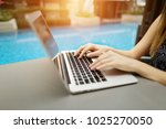 fingers typing on the computer...   Shutterstock . vector #1025270050