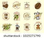 set of coffee logos. modern... | Shutterstock .eps vector #1025271790