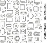 seamless pattern with computers ... | Shutterstock .eps vector #1025280853