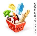 shopping basket. organic food...   Shutterstock .eps vector #1025283388