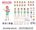 kid girl character constructor... | Shutterstock .eps vector #1025286310