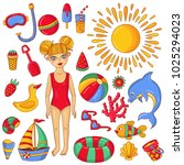 summer beach doodle icons and... | Shutterstock .eps vector #1025294023