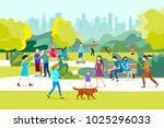 people  in a beautiful urban... | Shutterstock .eps vector #1025296033