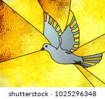 stained glass window  dove | Shutterstock . vector #1025296348