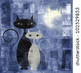 Black And White Cat On Blue...