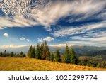 autumn morning. a picturesque... | Shutterstock . vector #1025299774