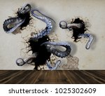 octopus climbs out of the wall. ... | Shutterstock . vector #1025302609