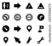 solid vector icon set  ... | Shutterstock .eps vector #1025306674