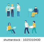 vector set of cartoon... | Shutterstock .eps vector #1025310430