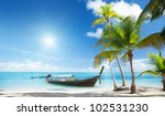 wood boat on the beach | Shutterstock . vector #102531230