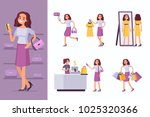 woman doing shopping  in... | Shutterstock .eps vector #1025320366