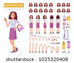 shopping girl character... | Shutterstock .eps vector #1025320408