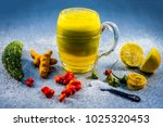 bitter gourd juice with all its ... | Shutterstock . vector #1025320453