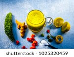 bitter gourd juice with all its ... | Shutterstock . vector #1025320459