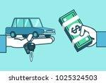 hand holds car  keys and money. ... | Shutterstock .eps vector #1025324503