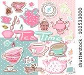 tea time scrapbook set | Shutterstock .eps vector #102533000