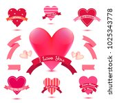vector set of heart banners ... | Shutterstock .eps vector #1025343778