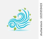 wind sign  wind blows leaves ... | Shutterstock .eps vector #1025353423