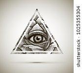 eye of providence. masonic... | Shutterstock .eps vector #1025355304