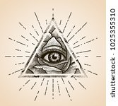 eye of providence. masonic... | Shutterstock .eps vector #1025355310