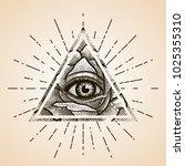 eye of providence. masonic... | Shutterstock .eps vector #1025355310