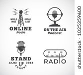 Online Radio and Microphone Abstract Vector Emblems Set. Broadcast Tower, Podcast or Stand Up Comedy Microphone Signs or Logo Templates. Radio Scale and On the Air Symbols. Isolated.