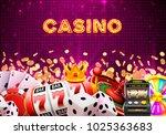 casino dice banner signboard on ...   Shutterstock .eps vector #1025363683