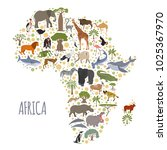 flat africa flora and fauna map ... | Shutterstock .eps vector #1025367970