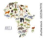 flat africa flora and fauna map ... | Shutterstock .eps vector #1025367970
