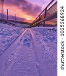 winter scene of ski trail with... | Shutterstock . vector #1025368924