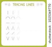 trace line worksheet for kids.... | Shutterstock .eps vector #1025369770