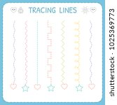 trace line worksheet for kids.... | Shutterstock .eps vector #1025369773