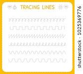 trace line worksheet for kids.... | Shutterstock .eps vector #1025369776
