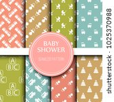 baby shower toys seamless... | Shutterstock .eps vector #1025370988