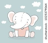 cute card with elephant baby | Shutterstock .eps vector #1025379064