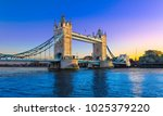 tower bridge at sunset with a... | Shutterstock . vector #1025379220