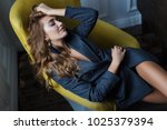 beautiful model girl with shiny ... | Shutterstock . vector #1025379394