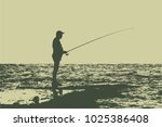 a fisherman on the shore with a ...   Shutterstock .eps vector #1025386408