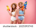 portrait of a two cheerful...   Shutterstock . vector #1025393743