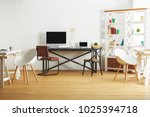new brick interior with... | Shutterstock . vector #1025394718