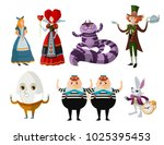 alice in wonderland characters... | Shutterstock .eps vector #1025395453