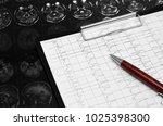 electrocardiogram graph  ecg  ...   Shutterstock . vector #1025398300