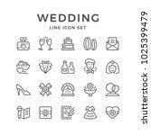 Set Line Icons Of Wedding...