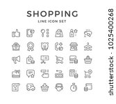 set line icons of shopping... | Shutterstock . vector #1025400268
