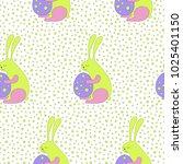 cartoon easter bunny background ... | Shutterstock . vector #1025401150