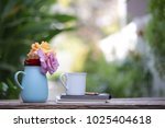 colorful roses in blue pot with ... | Shutterstock . vector #1025404618