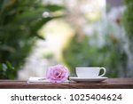 white cup and notebook with... | Shutterstock . vector #1025404624