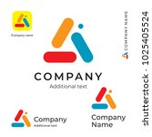 color triangle abstract logo.... | Shutterstock .eps vector #1025405524